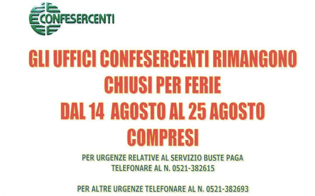 Chiusura uffici Confesercenti Parma dal 14 al 25 agosto 2017