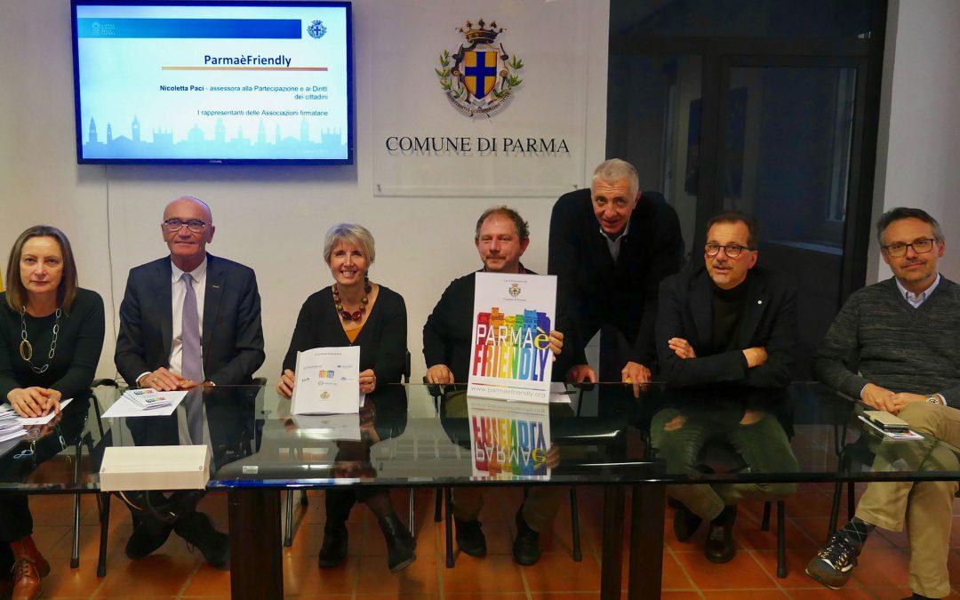 Parma città dei diritti. Firmata la Convenzione fra l'associazione ParmaèFriendly e le associazioni di categoria Apla Confartigianato, Ascom, Confesercenti e Cna
