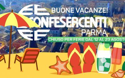 Chiusura estiva uffici Confesercenti Parma dal 12 al 23 agosto