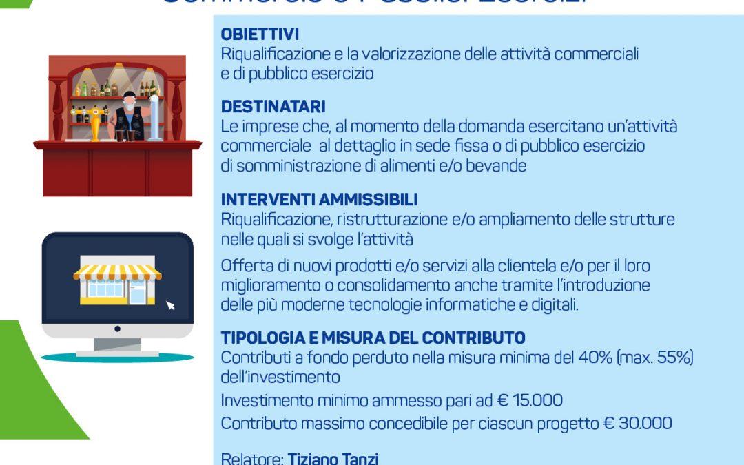 Nuovi contributi regionali per le imprese dei settori Commercio e Pubblici Esercizi. Incontro il 22 gennaio in Confesercenti