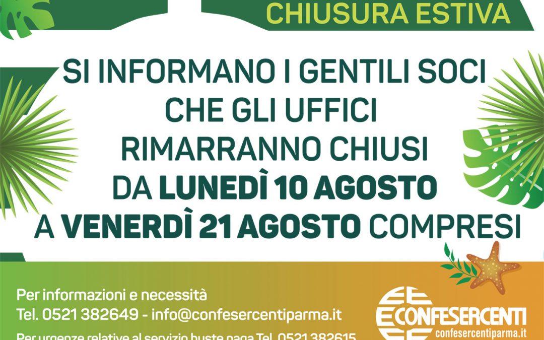 Chiusura estiva uffici Confesercenti Parma da lunedì 10 agosto a venerdì 21 agosto 2020