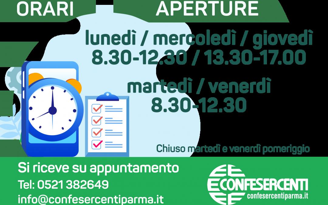 Nuovi orari di apertura al pubblico degli uffici Confesercenti Parma